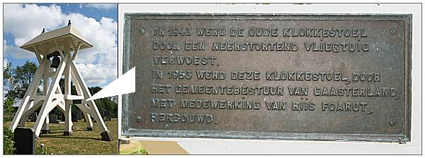 Sign - Belfry/Klokkenstoel (build 1953) at cemetery of Mirns/Murns