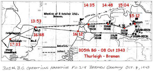 Mission 305th BG - 08 Oct 1943 - Thurleigh - Bremen