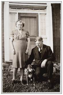 Mr. John F. Horton and Mrs. Christina Horton - with Ronald's dog 'Buddie'