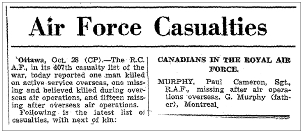 Sgt. Paul Cameron Murphy - Globe and Mail - RCAF 407th Casualty list