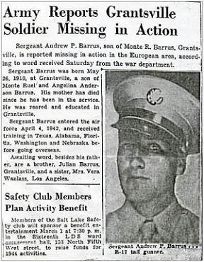 News article MIA - Sgt. Andrew Paul Barrus