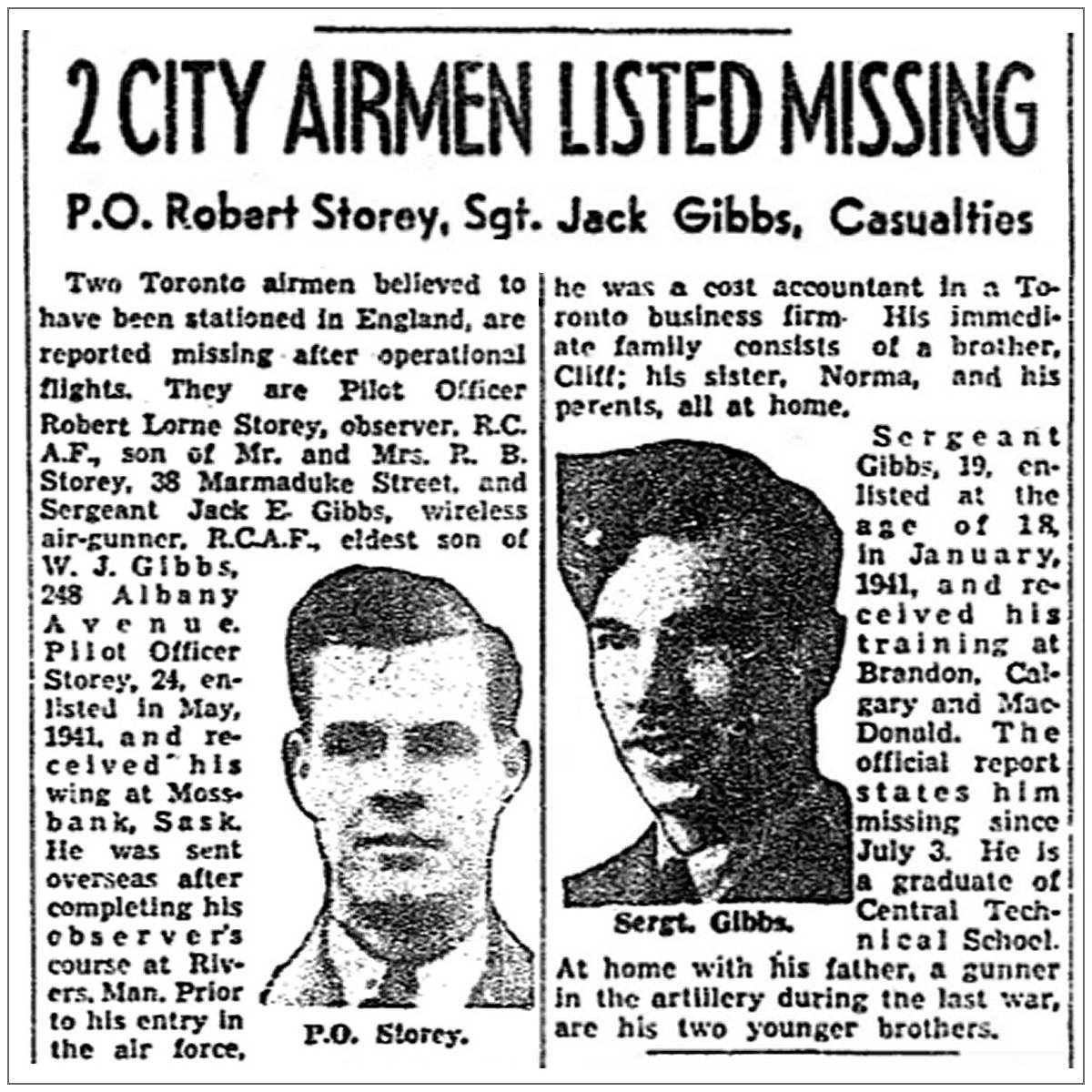 2 city airmen listed missing