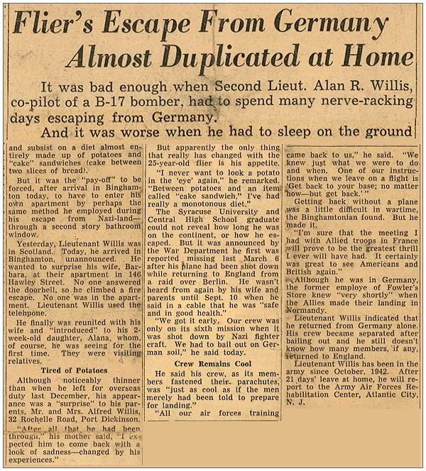 26 Sep 1944 - Newsclip - 2nd Lt. - Alan R. Willis at home - reformat