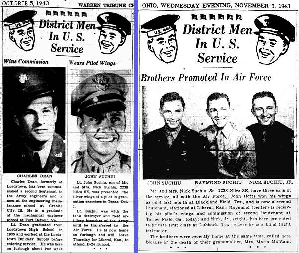Newsclips - 5 Oct 1943 and 3 Nov 1943 - Warren Tribune Chronicle