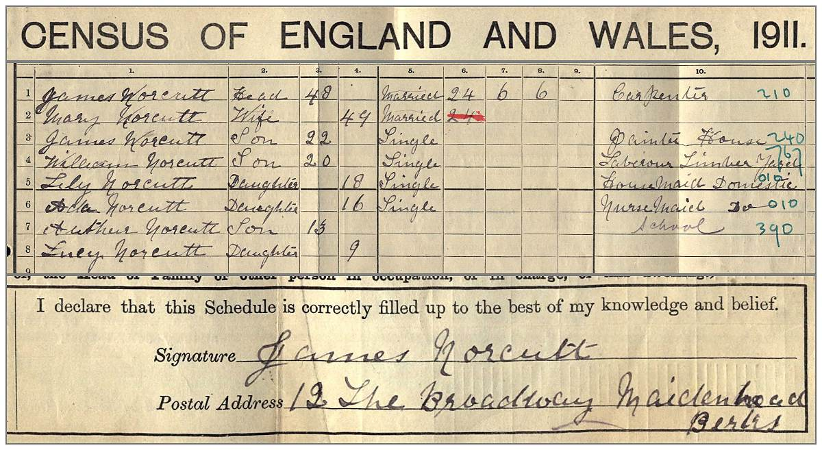 Family Norcutt in Census 1911 UK