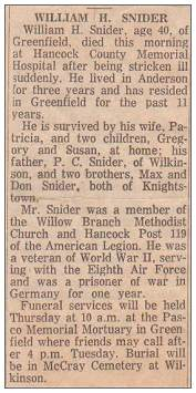 Obituary - William Harold Snider