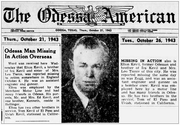The Odessa American - Newsclips - Kevil - 21 and 26 oct 1943