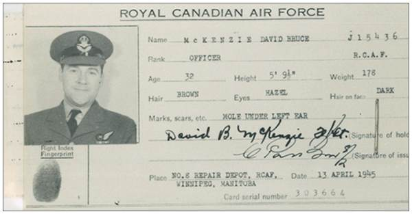 ID card - Officer David Bruce McKenzie - RCAF - 13 Apr 1945