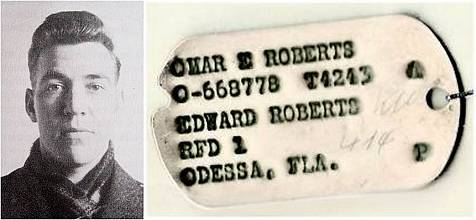 Omar Edward Roberts - ID tag via 392nd BG - KU 414 file