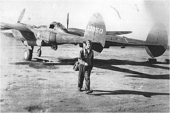 P-38F 43-2050 - with 2nd Lt. Albert A. Albino (photo taken before 26 Nov 1943)
