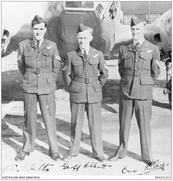 l-r: Vic Watts, Geoff Abbott and Eric Riley - November 1942