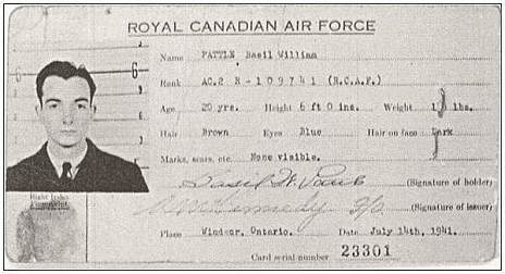 ID-card - P/O. - Pilot - Basil William Pattle - RCAF