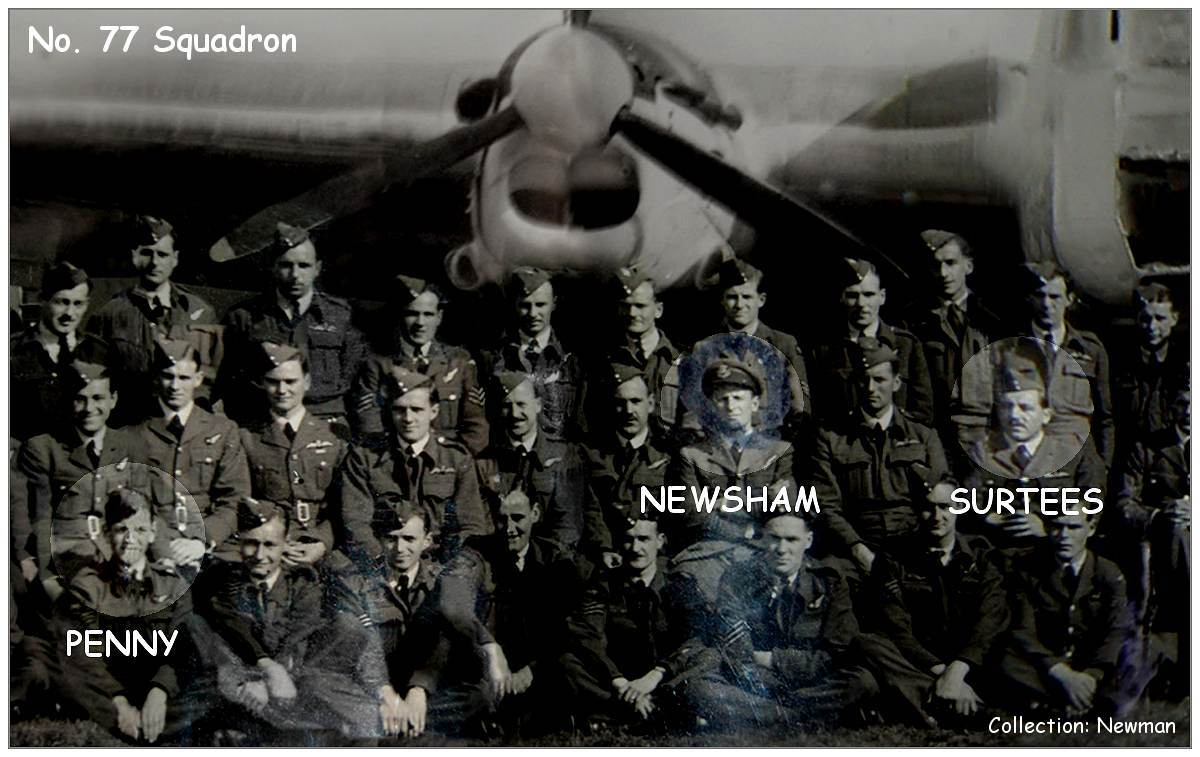Penny, Newsham and Surtees in one photo - while with No. 77 Squadron