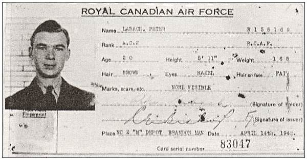 Photo ID-card - P/O. - Navigator - Peter Labach - RCAF