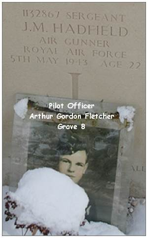 Photo of P/O. Arthur Gordon Fletcher - RCAF -  at grave of Sgt. John Milner Hadfield - RAFVR