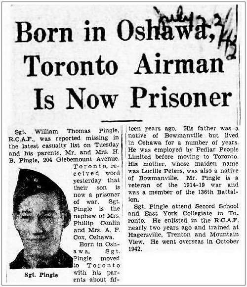 Newsclip - 22 Jul 1943 - Born in Oshawa, Toronto Airman Is Now Prisoner
