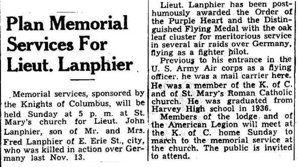 Plan Memorial Services For Lt. Lanphier