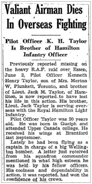 R/80787 - J/7076 - Pilot Officer - Kenneth Henry Taylor - RCAF - newsclip