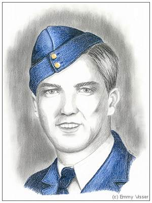 R/56328 - J/16982 - Flying Officer - Wireless Operator - William Thomas Lewis - DFM - RCAF - portrait by Emmy Visser
