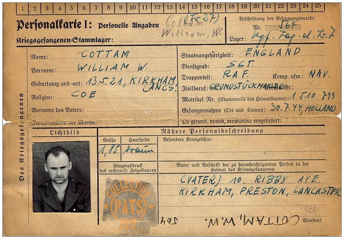 William W. Cottam - POW ID card Nr. 564 - Stalag Luft 7 - Bankau