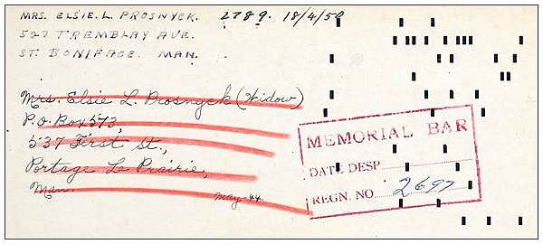 Memorial Bar card - R/110932 - Flight Sergeant - Bomb Aimer - John Prosnyck - RCAF
