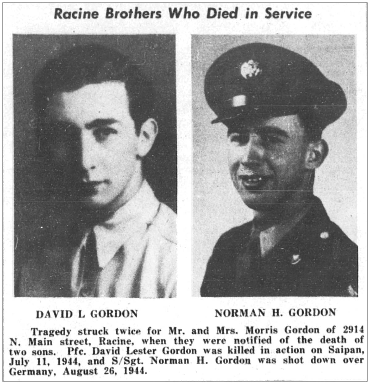 Pfc. David L. Gordon and his brother S/Sgt. Norman H. Gordon