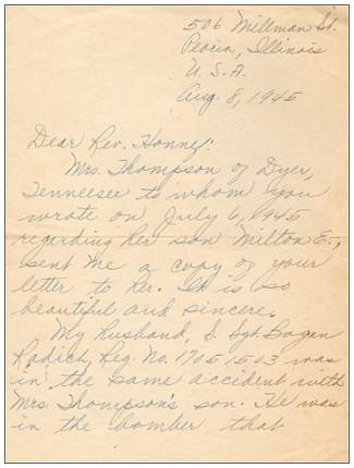 08 Aug 1945 - Letter of Mrs. Bogan Radich to Rev. Honnef