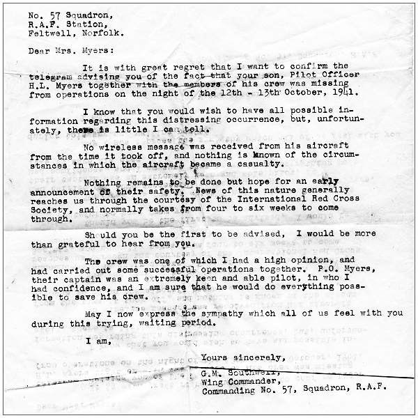 RAF letter - P/O. Hilyard Lowell Myers - Missing from Operations