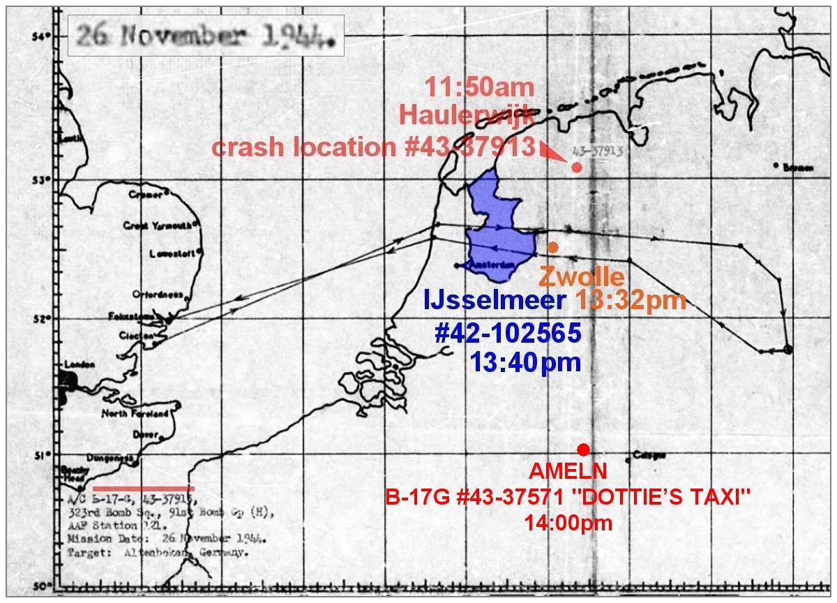 26 Nov 1944 - Raid Map with initial route