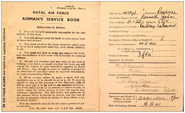 Royal Air Force - Airman's Service Book - Kenneth John Raiswell - page 1 and 2