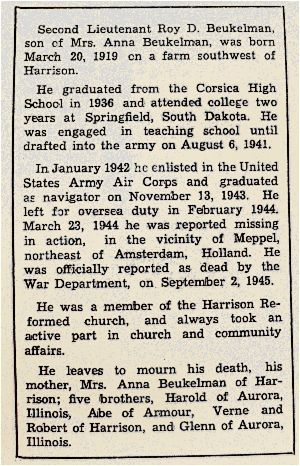 Obituary clip - 2nd Lt. Roy Beukelman