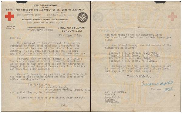 Red Cross - 30 Aug 1945 - letter to Mr. Meurs