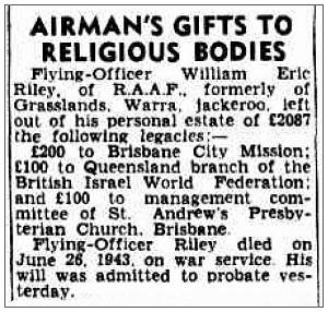Airman's gifts to religious bodies - 414960 - F/O. - Navigator - William Eric Riley - RAAF