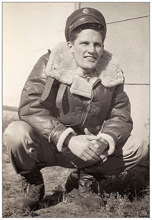 S/Sgt. Roger Walter Collins - Tail Turret Gunner - Roger somewhere in England, date unknown, likely 1943