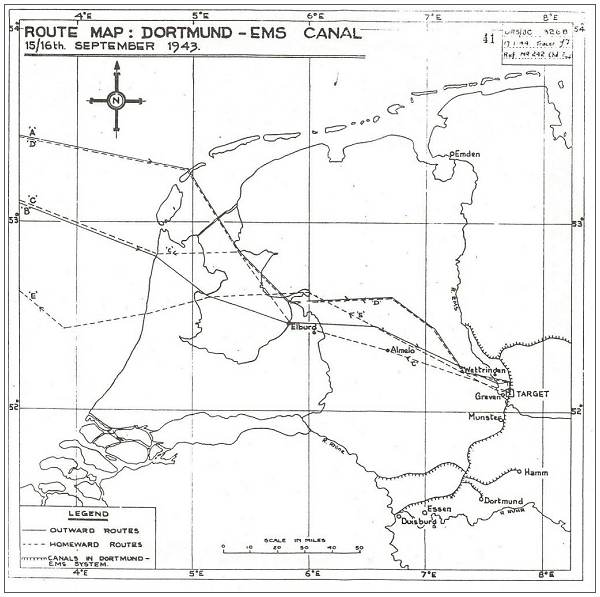 Route Map 15/16 Sep 1943
