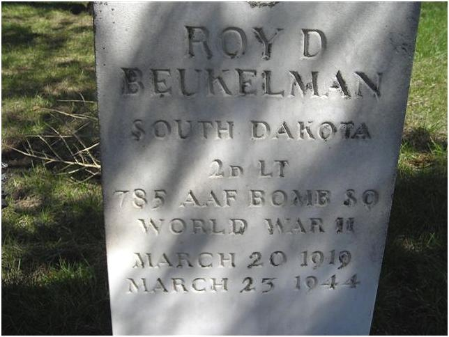 Headstone - Lt. Roy D. Beukelman, Harrison Cemetery, South Dakota