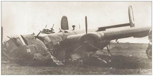 B-24H - #42-7650 after belly landing at Lemster Hop