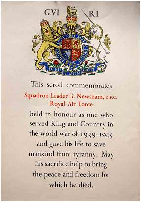 Scroll Commemoration - Flight Lt. George Newsham - DFC - Navigator