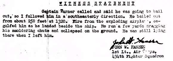 Witness statement - 1st Lt. John W. Hansen