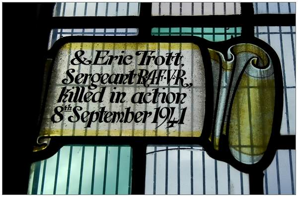 Sergeant - Eric Trott - RAFVR - Stained window - St Aiden's with St Luke Church, Manor Lane, Sheffield