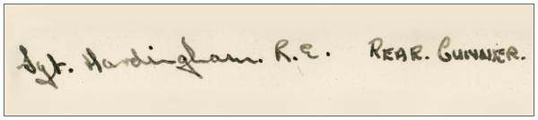 927795  - Sgt. - Rear Air Gunner  - Robert Edward Hardingham - RAFVR - Signature