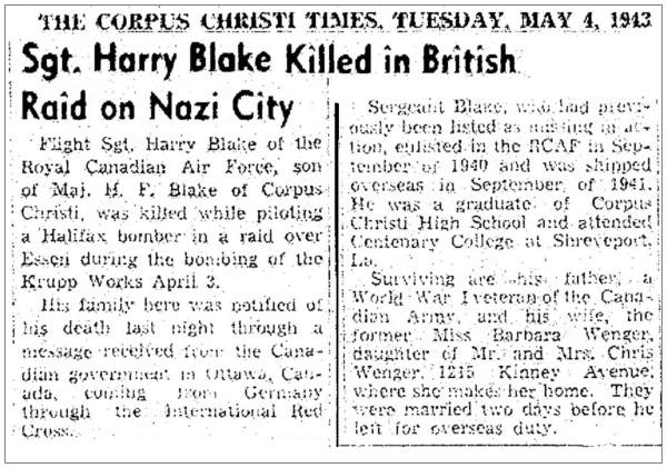 Sgt. Harry Blake Killed in British Raid on Nazi City - clip - 04 May 1943