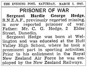 Newsclip - The Evening Post - 01 Mar 1941 - Prisoner of War - Sgt. Hardie George Hedge