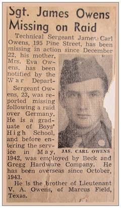 Sgt. James Owens Missing on Raid