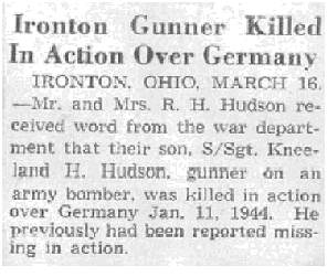Newspaper clip - S/Sgt. Kneeland Hughes Hudson - Killed