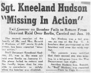 Newspaper clip - S/Sgt. Kneeland Hughes Hudson - Missing