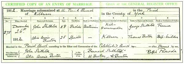 Marriage record parents of John Burton Shillitoe