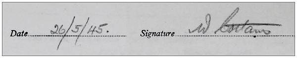 Signature - 26 May 1945 - W. Cottam
