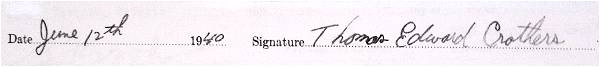 Signature - Attestation paper - Thomas Edward Crothers
