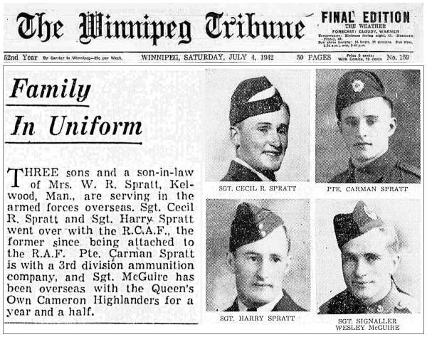 Family In Uniform - The Winnipeg Tribune: Saturday, July 04, 1942 - Page 03 (reformat)